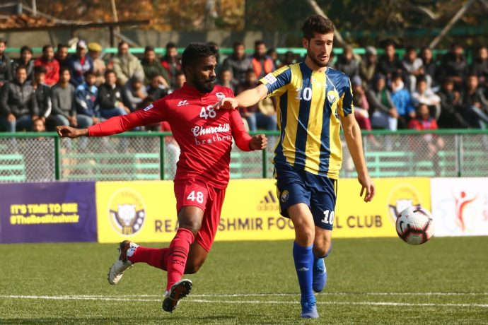 Hero I-League match action between Real Kashmir FC and Churchill Brothers FC Goa. (Photo courtesy: AIFF Media)