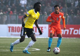 Hero I-League match action between Real Kashmir FC and Indian Arrows. (Photo courtesy: AIFF Media)