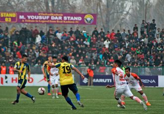 Hero I-League match action between Real Kashmir FC and NEROCA FC. (Photo courtesy: AIFF Media)