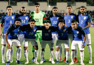 The Indian national team ahead of the international friendly match against Jordan at the King Abdullah II Stadium in Amman. (Photo courtesy: AIFF Media)