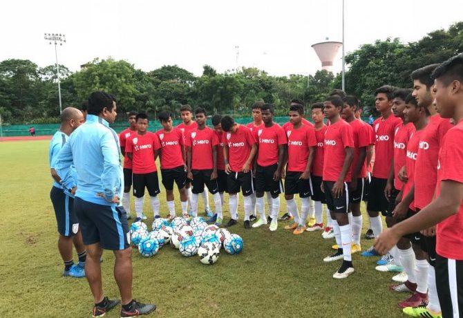 The India U-15 national team during a practice session. (Photo courtesy: AIFF Media)