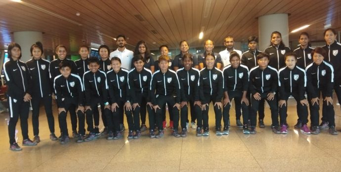 The Indian Women's national team squad on their way to Myanmar. (Photo courtesy: AIFF Media)