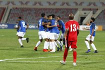 The Indian national team celebrating Nishu Kumar's goal against Jordan at the King Abdullah II Stadium in Amman. (Photo courtesy: AIFF Media)