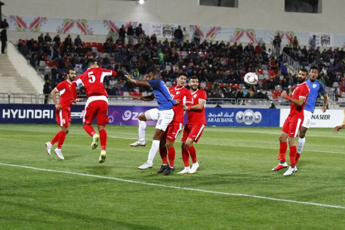 Match action during the international friendly match between India and Jordan at the King Abdullah II Stadium in Amman. (Photo courtesy: AIFF Media)