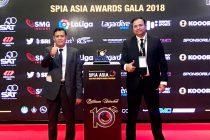 AIFF General Secretary Kushal Das and I-League CEO Sunando Dhar at the SPIA Awards in Bangkok, Thailand. (Photo courtesy: AIFF Media)