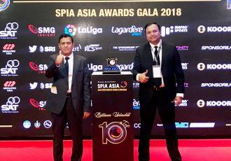 AIFF General Secretary Kushal Das and I-League CEO Sunando Dhar at the SPIA Awards in Bangkok, Thailand. (Photo courtesy: AIFF Media)
