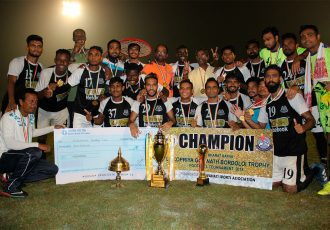 Mohammedan Sporting Club squad celebrating after their win against Oil India FC in the final of the 65th Bordoloi Trophy 2018. (Photo courtesy: Mohammedan Sporting Club)
