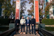Martin Buckley VP & GM of Nike Global Football, former Everton and Manchester United goalkeeper Tim Howard, Richard Scudamore, Executive Chairman of the Premier League, Mark Parker, Chairman, President & CEO of Nike Inc., at Nike World Headquarters in Portland Oregon. (Photo courtesy: Nike)