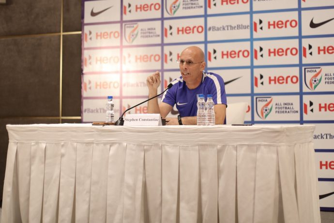 Indian national team head coach Stephen Constantine addressing the media during a press conference in New Delhi. (Photo courtesy: AIFF Media)