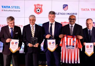Representatives of the Tata Football Academy (TFA), Tata Trusts and LaLiga side Atlético de Madrid. (Photo courtesy: Tata Steel)