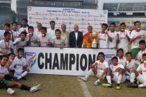The Mizoram junior team celebrating the Junior Boys National Football Championship for the Dr B.C. Roy Trophy (Tier-I) title at the Barabati Stadium in Cuttack, Odisha.