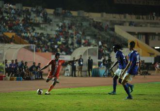 Hero I-League match action between Chennai City FC and Real Kashmir FC. (Photo courtesy: AIFF Media)