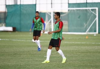 Indian national team defender Narayan Das during a training session. (Photo courtesy: AIFF Media)