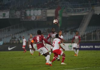 Hero I-League match action between Mohun Bagan AC and Shillong Lajong FC. (Photo courtesy: AIFF Media)