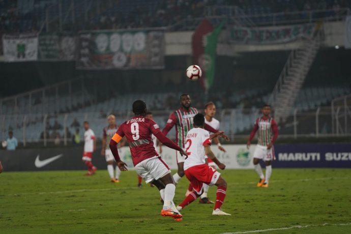 Hero I-League match action between Mohun Bagan AC and Shillong Lajong FC. (Photo courtesy: AIFF Media)