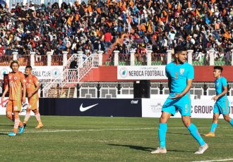 Hero I-League match action between NEROCA FC and Indian Arrows in Imphal. (Photo courtesy: AIFF Media)