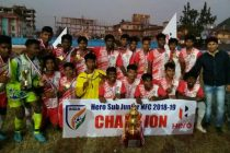 The Odisha juniors celebrating their Sub-Junior National Championship title. (Photo courtesy: AIFF Media)