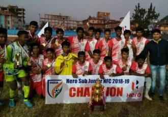 The Odisha juniors celebrating their Sub-Junior National Championship title. (Photo courtesy: AIFF Media)