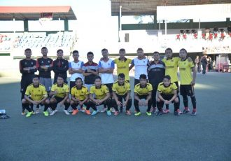 Ramhlun North FC players and officials at the sidelines of the MPL Playoffs. (Photo courtesy: Mizoram Football Association)