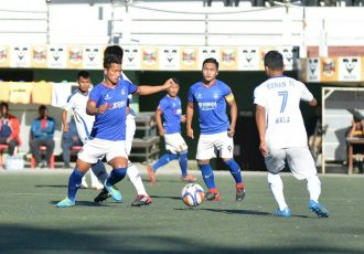MPL Playoffs match action between Ramhlun North FC and Kanan FC. (Photo courtesy: Mizoram Football Association)