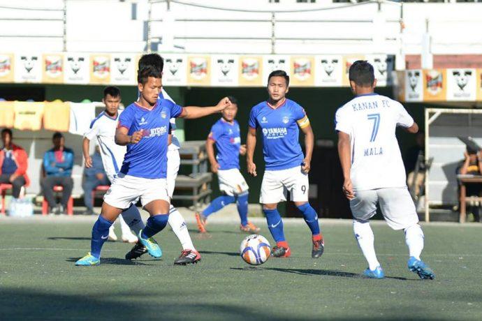 MPL Playoffs match action between Ramhlun North FC and Kanan FC. (Photo courtesy: Mizoram Football Association)