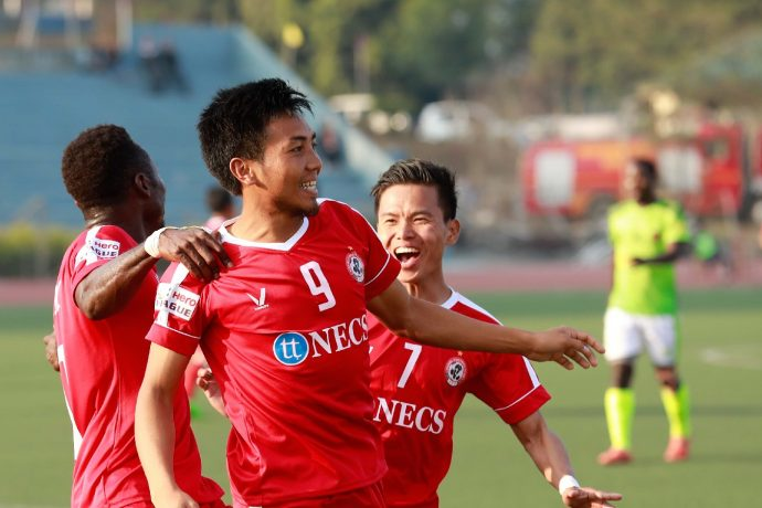 Aizawl FC players celebrating one of their goals in the Hero I-League. (Photo courtesy: AIFF Media)
