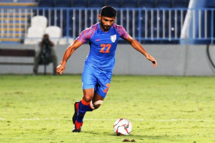 Central defender Anas Edathodika in action for the Indian national team. (Photo courtesy: AIFF Media)