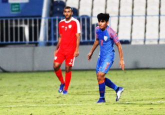 Midfielder Anirudh Thapa during the Indian national team's friendly match against Oman on December 27, 2018. (Photo courtesy: AIFF Media)