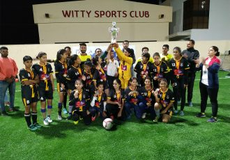 AU Rajasthan FC Women's team celebrating their Rajasthan Women's League title. (Photo courtesy: AU Rajasthan FC)