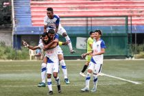 Bengaluru FC players celebrate Myron Mendes' 88th minute penalty, in their 1-0 win over ASC at the Bangalore Football Stadium, in Bengaluru. (Photo courtesy: Bengaluru FC)