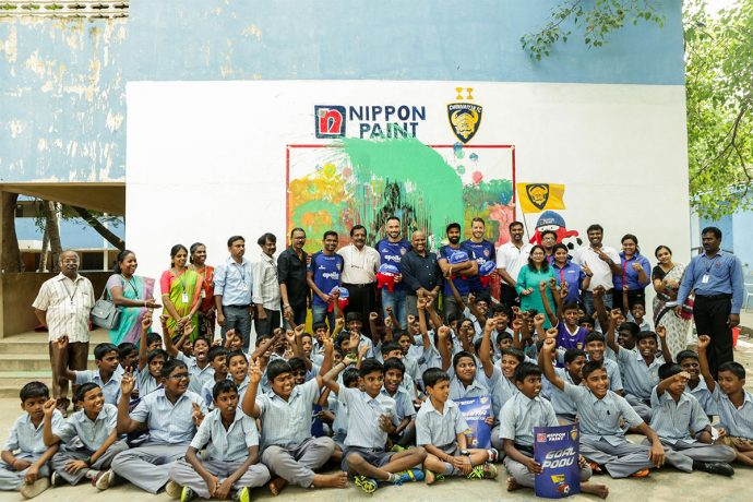 Chennaiyin FC players Eli Sabia, Andrea Orlandi, Francisco Fernandes and Mohammed Rafi during the launch of a unique arts-based LeadArt learning program by Nippon Paint and InkLink Charitable Trust at the Chettinad Rajah Muthiah School. (Photo courtesy: Chennaiyin FC)
