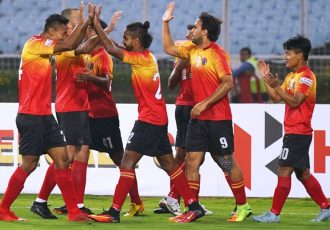 East Bengal players celebrating one of their goals in the Hero I-League. (Photo courtesy: AIFF Media)