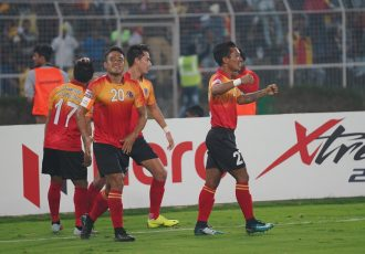 East Bengal FC players celebrating one of their goals in the Hero I-League. (Photo courtesy: AIFF Media)