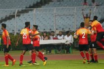East Bengal FC players celebrating during a Hero I-League match. (Photo courtesy: AIFF Media)