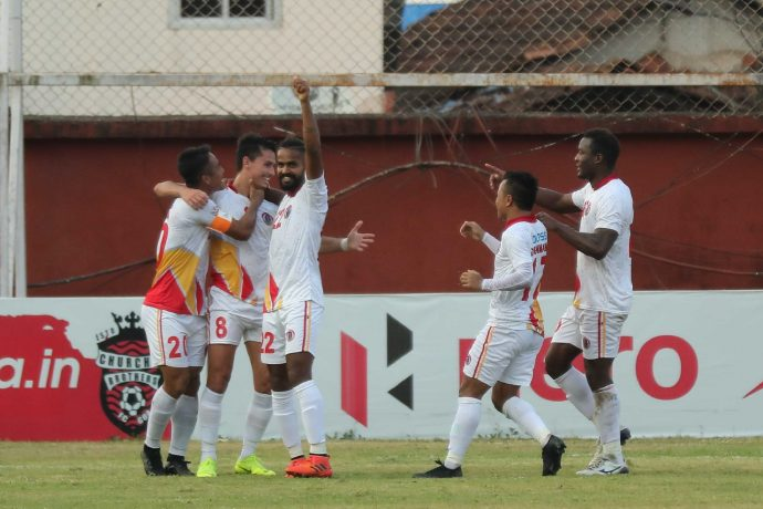East Bengal FC players celebrating one of their goals against Churchill Brothers in the Hero I-League. (Photo courtesy: AIFF Media)