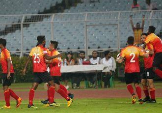East Bengal FC players celebrating during a Hero I-League match. (Photo courtesy: AIFF Media)