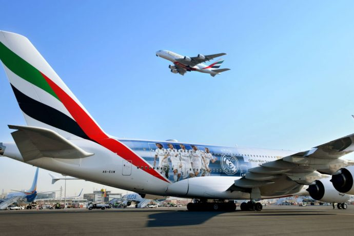 The Emirates A380 Real Madrid CF aircraft before taking off from Dubai to Madrid. (Photo courtesy: Emirates)