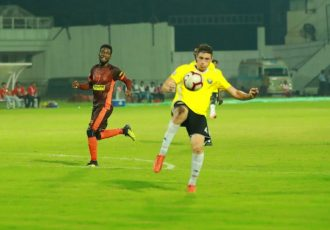 Hero I-League match action between Gokulam Kerala FC and Real Kashmir FC. (AIFF Media)