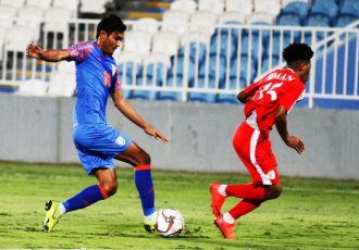 Indian national team winger Halicharan Narzary in action against Oman on December 27, 2018. (Photo courtesy: AIFF Media)