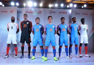Indian national team players presenting the new home and away kits by new kit sponsors Six5Six. (Photo courtesy: AIFF Media)