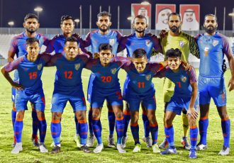The Indian national team at the Baniyas Stadium in Abu Dhabi, UAE. (Photo courtesy: AIFF Media)