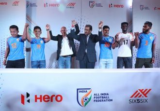 AIFF President Praful Patel with head coach Stephen Constantine, star strikers Sunil Chhetri and Jeje Lalpekhlua and other members of the Indian national team. (Photo courtesy: AIFF Media)