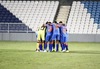 The Indian national team players moments before their friendly match against Oman on December 27, 2018. (Photo courtesy: AIFF Media)