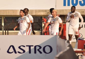 Mohun Bagan players celebrating Henry Kisekka's goal in the Hero I-League. (Photo courtesy: AIFF Media)