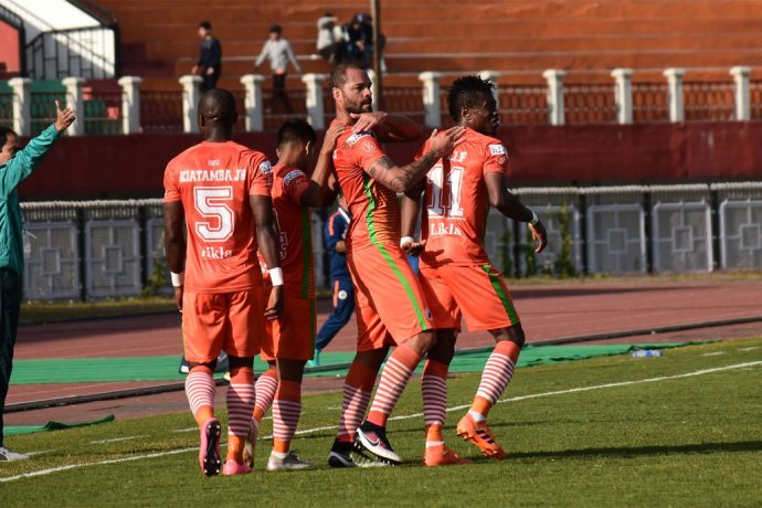 NEROCA FC players celebrate one of their goals in the Hero I-League match. (Photo courtesy: AIFF Media)