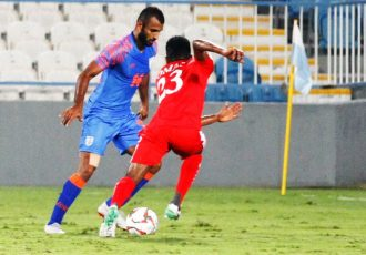 Indian national team midfielder Pronay Halder in action against Oman in a friendly match on December 27, 2018. (Photo courtesy: AIFF Media)