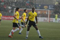 Real Kashmir FC players during a Hero I-League match. (Photo courtesy: AIFF Media)