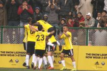 Real Kashmir FC players celebrating their goal in the Hero I-League. (Photo courtesy: AIFF Media)