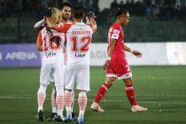Hero I-League match action between Shillong Lajong FC and NEROCA FC. (Photo courtesy: AIFF Media)