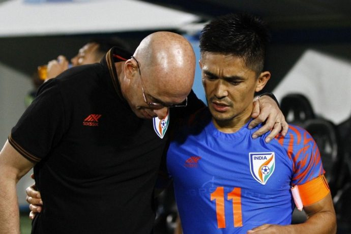Indian national team head coach Stephen Constantine and captain Sunil Chhetri. (Photo courtesy: AIFF Media)